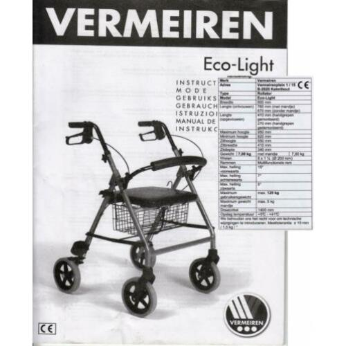 4-wiel Rollator Vermeiren Eco-Light.